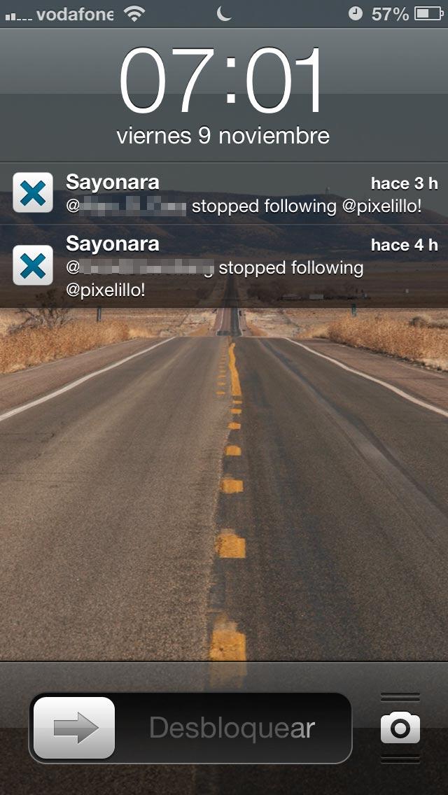 Notificación de unfollow de la app Sayonara